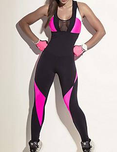 billiga Träning-, jogging- och yogakläder-Dam Lappverk Jumpsuit - Svart sporter Färgblock Mesh Leggings Löpning, Fitness, Gym Sportkläder Snabb tork, Andningsfunktion, Kompression Hög Elasisitet