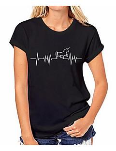 billige Kvinde Toppe-Dame - Ensfarvet / Geometrisk Bomuld T-shirt