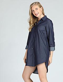 billige Dametopper-Tynn Skjortekrage Store størrelser Skjorte Dame Vintage / Gatemote
