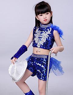 tanie Stroje taneczne do jazzu-Jazz Stroje Dla dziewczynek Wydajność Spandeks Marszcząca się / Cekiny Bez rękawów Dropped Top / Spodnie