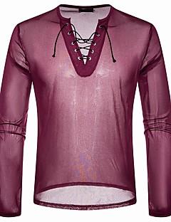 billige Herremote og klær-T-skjorte Herre - Ensfarget, Blonde / Netting Grunnleggende