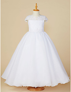 cheap Flower Girl Dresses-Ball Gown Ankle Length Flower Girl Dress - Lace / Tulle Short Sleeve Jewel Neck with Beading / Appliques by LAN TING BRIDE®