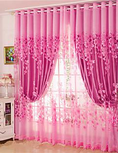 billige Gardiner-gardiner gardiner Stue Blomstret 100% Polyester Mønstret
