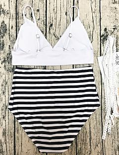 billige Bikinier og damemote 2017-Dame Stikkende halslinje Bikini Snørebinding Fargeblokk