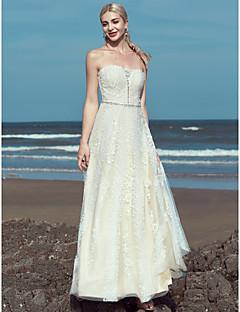 Χαμηλού Κόστους Φορέματα για παραλία και μήνα του μέλιτος-Γραμμή Α Στράπλες Μακρύ Δαντέλα / Τούλι Φορέματα γάμου φτιαγμένα στο μέτρο με Χάντρες / Δαντέλα με LAN TING BRIDE® / Με Όμορφη Πλάτη