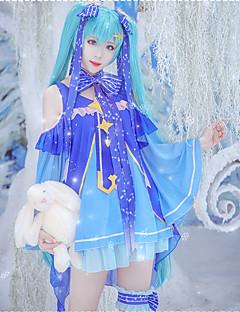 """billige Anime cosplay-Inspirert av Vokaloid Snø Miku 2018 Anime  """"Cosplay-kostymer"""" Cosplay Klær Stjerner Skjørte / Hansker / Mer Tilbehør Til Dame Halloween-kostymer"""