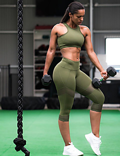 5b6ef341ef Women s Racerback Yoga Suit Army Green Sports Solid Color Mesh High Rise  3 4 Tights Bra Top Clothing Suit Zumba Dance Running Sleeveless Activewear  ...