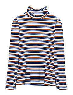 baratos Suéteres de Mulher-pullover de algodão de manga comprida para mulher - decote redondo de cor sólida