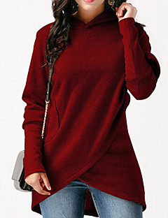 tanie Damskie bluzy z kapturem-Damskie Luźna Spodnie - Solidne kolory Czarny / Długie