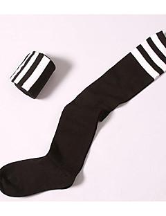 billige Sokker og strømper til damer-Dame Strømper / Sokker / Knehøye Sokker - Ensfarget / Stripet Tynn Bomull / Vår / Høst