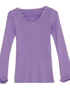tanie Swetry damskie-damski sweter z długimi rękawami - jednolity dekolt w szpic
