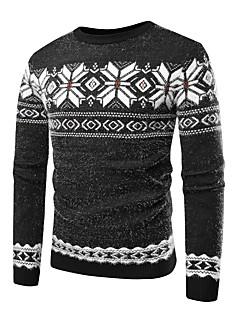 baratos Suéteres & Cardigans Masculinos-Homens Básico / Exagerado Pulôver - Listrado