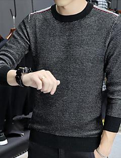 tanie Męskie swetry i swetry rozpinane-Męskie Szczupła Pulower Wielokolorowa Długi rękaw