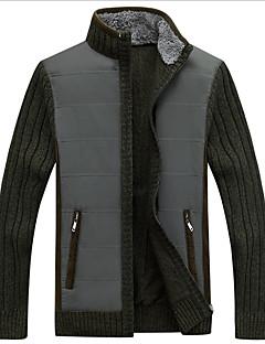 tanie Męskie swetry i swetry rozpinane-Męskie Kołnierz stawiany Sweter rozpinany Solidne kolory Długi rękaw