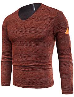 baratos Suéteres & Cardigans Masculinos-Homens Básico / Moda de Rua Pulôver - Sólido, Com Transparência