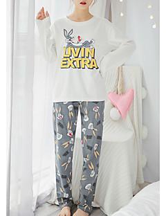 billige Moteundertøy-Dame Rund hals Dress Pyjamas - Stripet / Bokstaver