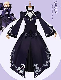 """billige Anime cosplay-Inspirert av Fate / Stay Night Saber Lily / Cosplay Anime  """"Cosplay-kostymer"""" Cosplay Klær Helfarge / Animé / Blomster / botanikk Frakk / Topp / Skjørte Til Dame Halloween-kostymer"""