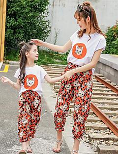 billige Sett med familieklær-2pcs Voksen / Barn Mamma og meg Katt Dyr Kortermet Tøysett