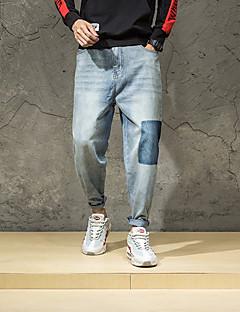 billige Herrebukser og -shorts-Herre Jeans Bukser - Hull, Ensfarget