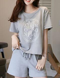 baratos Pijamas Femininos-Mulheres Decote Redondo Conjunto Pijamas Sólido