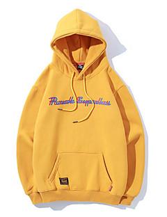 baratos Abrigos e Moletons Masculinos-hoodie de manga comprida masculina - carta com capuz