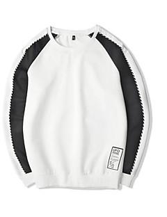 baratos Abrigos e Moletons Masculinos-homens plus size saindo manga longa camisola longa - bloco de cor em volta do pescoço