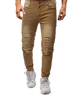 billige Herrebukser og -shorts-Herre Bomull Skinny Jeans Bukser - Hull, Ensfarget
