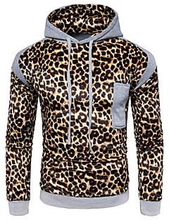 baratos Abrigos e Moletons Masculinos-Homens Básico Delgado Calças - Leopardo Cinzento Escuro / Com Capuz / Manga Longa / Primavera / Outono
