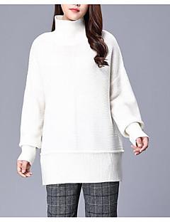 baratos Suéteres de Mulher-Mulheres Manga Longa Delgado Pulôver - Sólido / Gola Alta