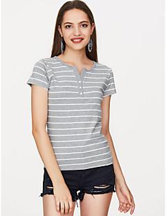 billige Udsalg-Bomull V-hals T-skjorte Dame - Stripet, Trykt mønster Grunnleggende Ferie / Sommer / fin Stripe