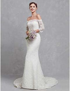 billiga Brudklänningar-Trumpet / sjöjungfru Bateau Neck Hovsläp Spets Bröllopsklänningar tillverkade med Spets av LAN TING BRIDE®