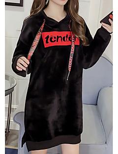 baratos Moletons com Capuz e Sem Capuz Femininos-hoodie longo da luva longa das mulheres - carta encapuçado