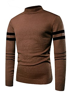 tanie Męskie swetry i swetry rozpinane-Męskie Aktywny / Podstawowy Okrągły dekolt Pulower - Niejednolita całość, Jendolity kolor Długi rękaw
