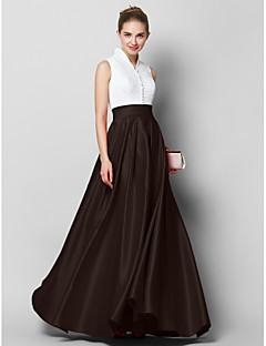 billiga Aftonklänningar-A-linje Hög hals Golvlång Spets / Satäng Färgblock Formell kväll Klänning med Plisserat av TS Couture®