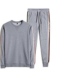 baratos Abrigos e Moletons Masculinos-Homens Moletom / activewear Set - Estampado, Sólido / Listrado / Letra