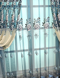 baratos Cortinas Transparentes-Sheer Curtains Shades Quarto Floral / Geométrica Poliéster Bordado