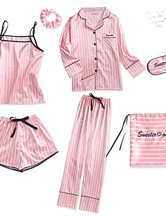 baratos Pijamas Femininos-Mulheres Decote Quadrado Conjunto Pijamas - Estampado, Geométrica