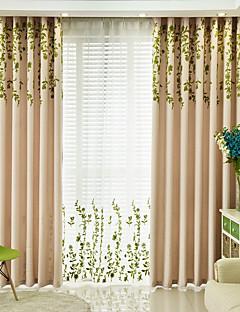 billige Mørkleggingsgardiner-Blackout Gardiner Stue Blomstret 100% Polyester Broderi