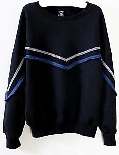 tanie Damskie bluzy z kapturem-Damskie Bawełna Luźna Bluzy - Prążki