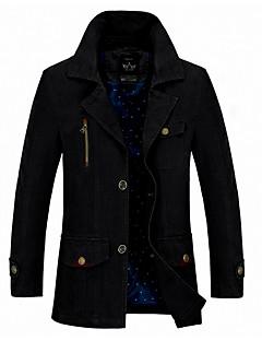 cheap Men's Clothing-Men's Daily Street chic Fall & Winter Regular Jacket, Solid Colored Shirt Collar Long Sleeve Polyester Black / Army Green / Khaki XXL / XXXL / 4XL