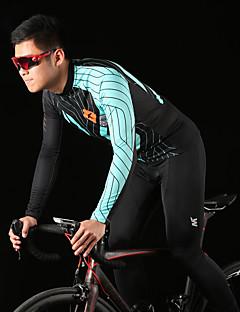 billige Sykkelklær-Mysenlan Herre Langermet Sykkeljersey med tights - Grønn / Blå Sykkel Klessett, 3D Pute, Fort Tørring, Pustende Polyester, Spandex Vertikale striper