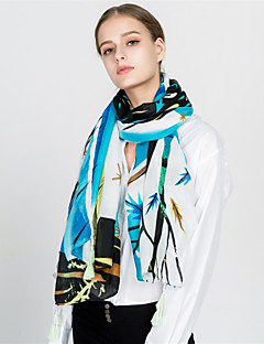 baratos Cachecóis da Moda-Mulheres Vintage / Férias Retângular - Franjas Estampado Azul e Branco