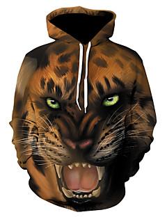 baratos Abrigos e Moletons Masculinos-Homens Moda de Rua / Punk & Góticas Moletom - Estampado, Leopardo / Estampa Colorida