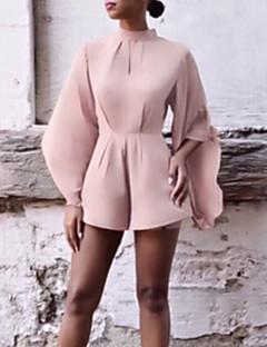 billige Jumpsuits og sparkebukser til damer-kvinners romper - solid farget brede benbesetningshals