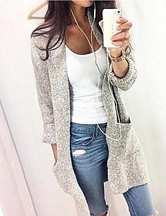 tanie Swetry damskie-Damskie W serek Sweter rozpinany Solidne kolory Długi rękaw