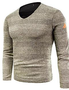 tanie Męskie swetry i swetry rozpinane-Męskie Wyjściowe Solidne kolory Długi rękaw Regularny Pulower, W serek Czarny / Szary / Khaki 4XL / XXXXXL / XXXXXXL