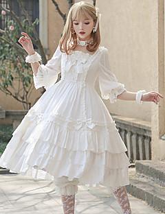 billiga Lolitamode-Söt Lolita Klassisk / Traditionell Lolita Casual Lolita Klänning Elegant Ruffle Dress Dam Klänningar Cosplay Vit / Röd Flamma Ärm Halvlång ärm Midi Kostymer