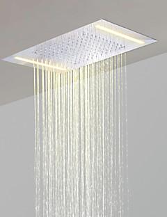billige LED Brusehoveder-rustfrit stål 304 110V ~ 220V vekselstrøm badeværelse nedbør brusehoved med energibesparelser førte lamper