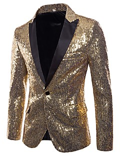 cheap Men's Blazers & Suits-Men's Party / Club Basic / Punk & Gothic Winter / Fall & Winter Regular Blazer, Solid Colored V Neck Long Sleeve Polyester Sequins Silver / Red / Purple L / XL / XXL
