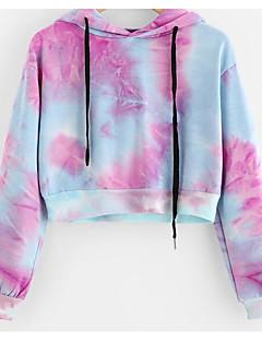 tanie Damskie bluzy z kapturem-Damskie Bawełna Bluza z Kapturem - Solidne kolory
